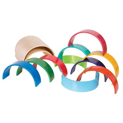 Kaplan Early Learning Colorful Wooden Rainbow Arches and Tunnels - 12 Pieces