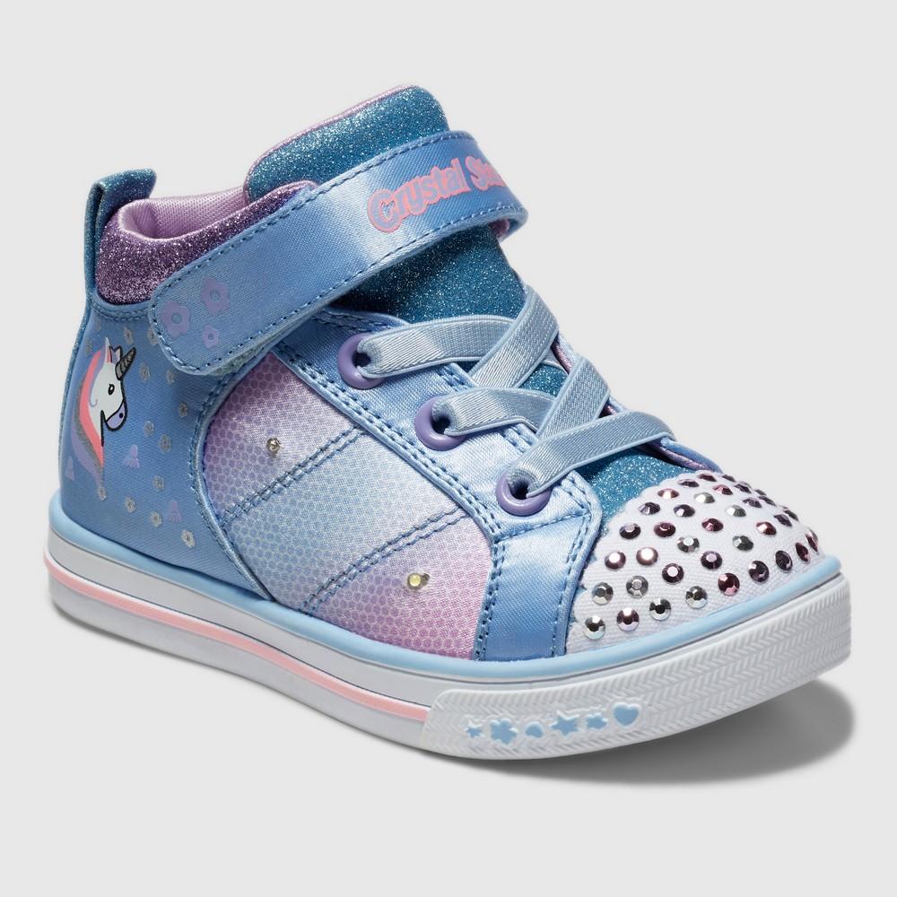 Toddler Girls' S Sport By Skechers Charlett Crystal Stars Light up Sneakers - Light Blue 9, Blue White