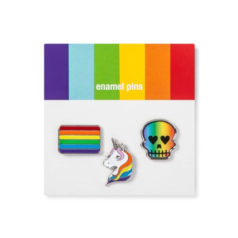 Pride Flag/Unicorn/Skull Enamel Pin Set - 3pk - image 1 of 1