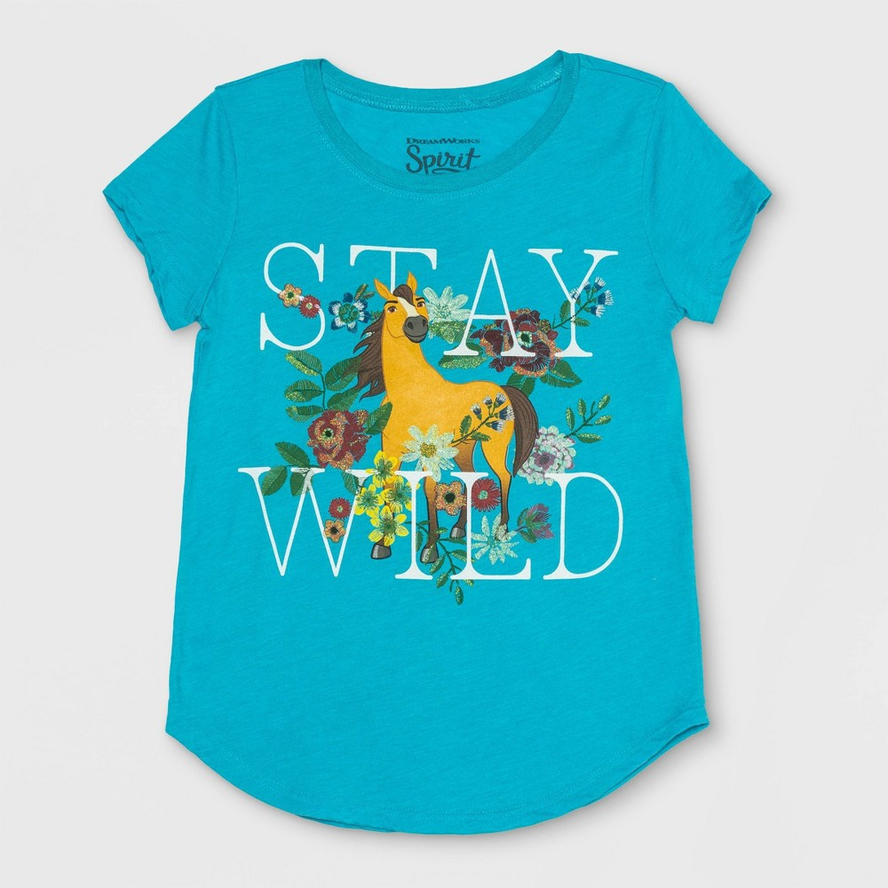 79e81259f08bac Girls Spirit Riding Free Stay Wild Short Sleeve T Shirt Turquoise Heather  XS Blue