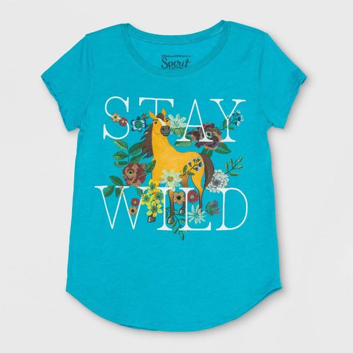 Girls' Spirit Riding Free Stay Wild Short Sleeve T-Shirt - Turquoise Heather - image 1 of 2