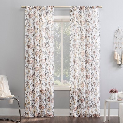 Sarita Floral Print Sheer Rod Pocket Curtain Panel - No. 918