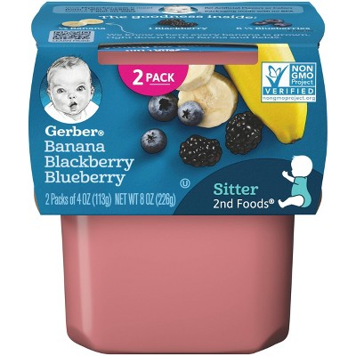 Gerber Sitter 2nd Food Banana Blackberry & Blueberry Baby Food Tubs - 2ct/4oz Each