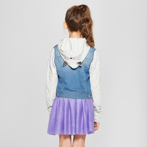 02a284e20a619 Girls  French Terry Long Sleeve Hoodie Denim Jacket - Cat   Jack™ Medium  Blue   Target