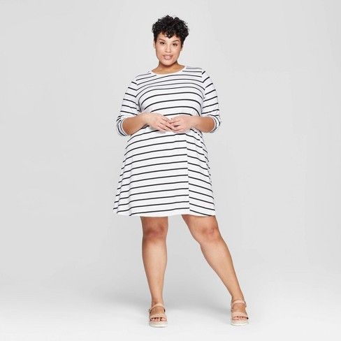 Women\'s Plus Size Striped Long Sleeve Scoop Neck Knit Swing Dress - Ava &  Viv™ Black/White 3X