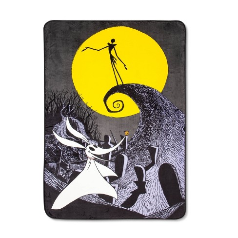 The Nightmare Before Christmas Twin Bed Blanket Gray/Yellow - image 1 of 1