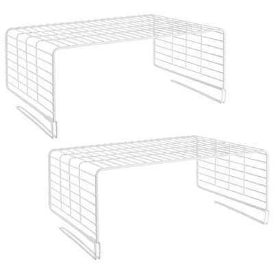 mDesign Metal Wire Closet 2-Tier Shelf Divider and Separator, 2 Pack