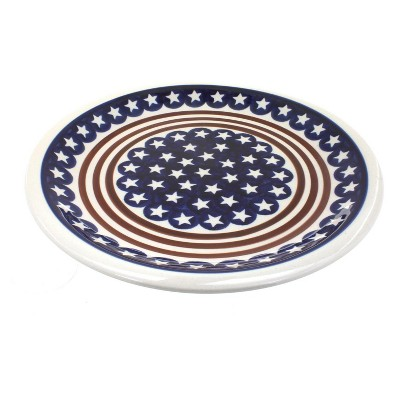 Blue Rose Polish Pottery Stars & Stripes Dinner Plate