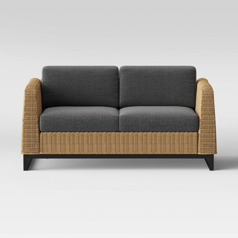 Niels Thin Wicker Patio Loveseat Graphite Project 62 Target