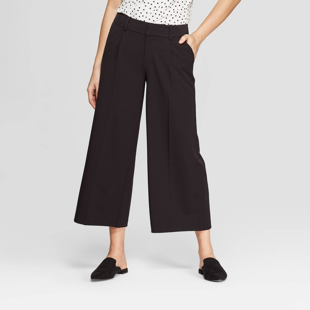 Women's Regular Fit Wide Leg Crop Fashion Pants - A New Day Black 14