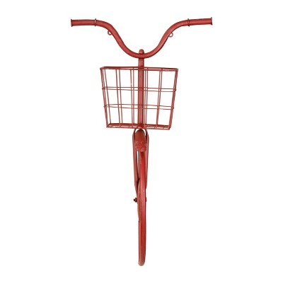"""17.3"""" x 8.2"""" Distressed Iron Bike Shaped Wall Decor with Basket Red - 3R Studios"""