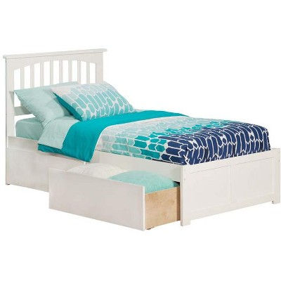 Mission Twin XL Flat Panel Foot Board w/ 2 Urban Bed Drawers White - Atlantic Furniture