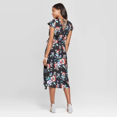 6b9ea146569e3 Women s Floral Print Short Sleeve Deep V-Neck Wrap Midi Dress - Xhilaration™    Target