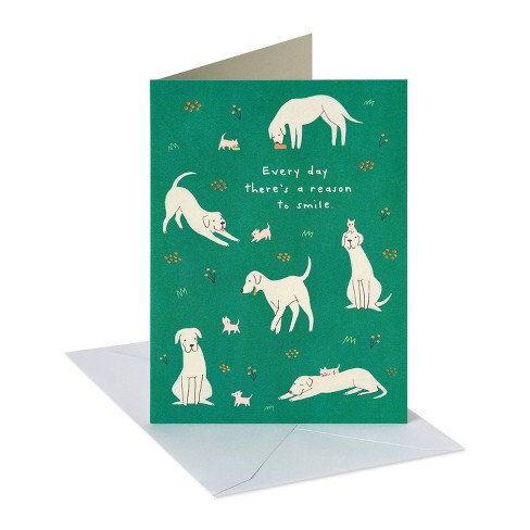 'Reason to Smile' Dogs Birthday Card Green - image 1 of 4