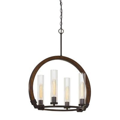 "24"" x 24"" x 30"" Sulmona Wood/Metal Chandelier with Glass Shade Oak/Iron - Cal Lighting"