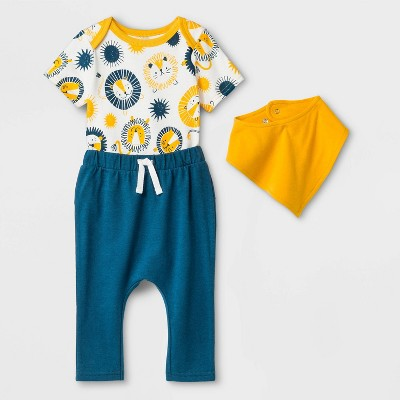 Baby Boys' Bib Romper Set - Cat & Jack™ Yellow/Blue 6-9M