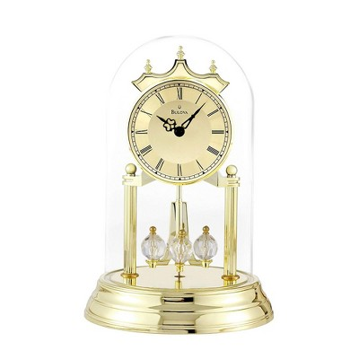 Bulova Clocks Tristan I Oval Dome Clock with Metal Base and Brass Finish, Gold