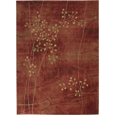 Somerset ST74 Flame Area Rug Contemporary Floral By Nourison