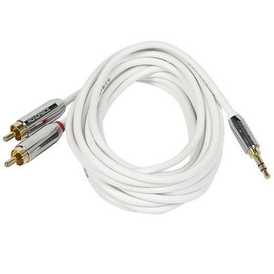 Monoprice Audio Cable - 6 Feet - White | Stereo Male to RCA Stereo Male Gold Plated Cable for Mobile