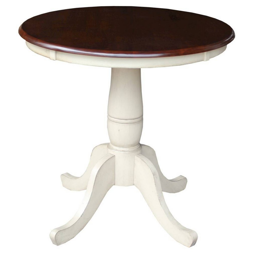30 34 Round Top Pedestal Extendable Dining Table Antiqued Almond Espresso 8211 International Concepts