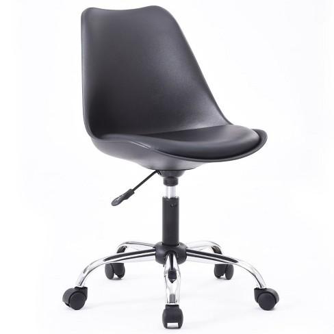 Armless Office Chair With Seat Cushion In Black Hodedah