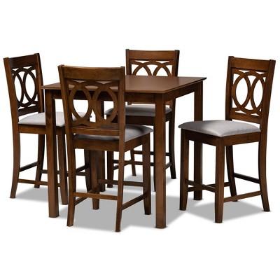 5pc Lenoir Upholstered Wood Pub Counter Height Dining Set Gray/Walnut - Baxton Studio