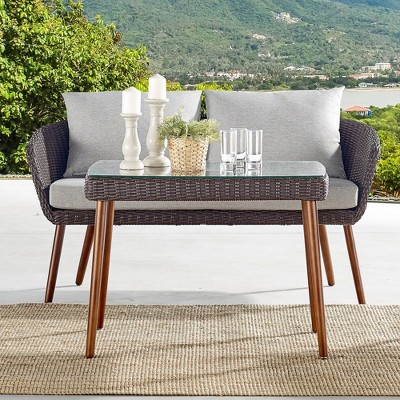 All-Weather Wicker Athens Outdoor Cocktail Table Brown - Alaterre Furniture