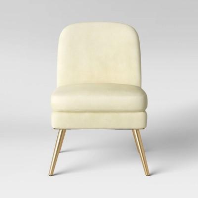 Wexner Modern Slipper Velvet Chair Cream - Project 62™