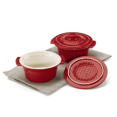 Cusinart Chefs Classic Ceramic Bakeware Set of 2 Mini Round Covered Cocottes with Lids and Side Handles, Red