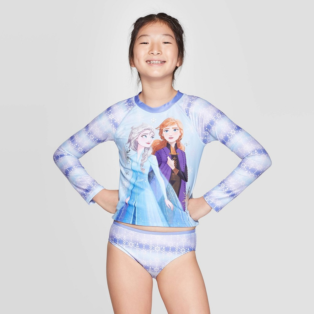 Image of Girls' Frozen 2pc Long Sleeve Rash Guard set - Purple L, Girl's, Size: Large