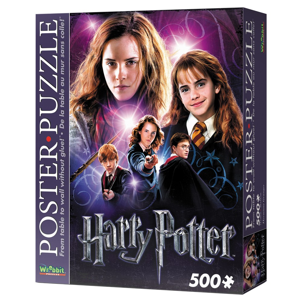Wrebbit Hermione Granger Poster Puzzle 500pc Assemble this exclusive Harry Potter foam-backed 500-piece puzzle and convert it into an actual poster of your favorite characters from J.K. Rowling's Wizarding World! Thanks to snug tight-fitting pieces, Wrebbit's poster-puzzles can be lifted up and pinned to the wall. Take it ''From table to wall without glue!'' Features younger and older Hermione Granger and her friends Harry Potter and Ron Weasley. Finished size is approximately 19 inches x 26 inches. Suitable for ages 12 and up. Warning: Choking Hazard - Small parts. Not for children under 3 yrs. Gender: Unisex.