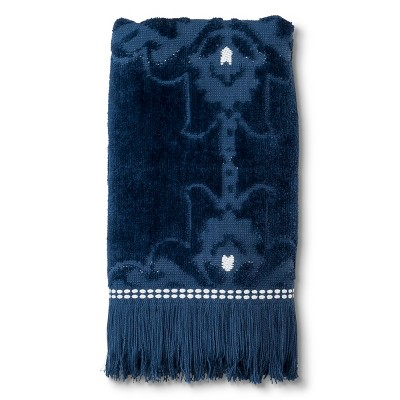 Sheared Medallion with Fringe Hand Towel Graphite Blue - Threshold™
