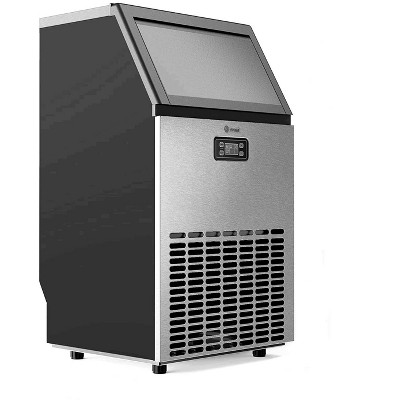 Vremi VRM050692N Freestanding Commercial Ice Maker Machine with Panel and Scoop for Restaurants, Bars, and Homes, 1.2 Liter Capacity, Stainless Steel