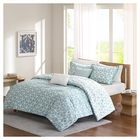 Karina Geometric Cotton Comforter Set 5 Piece Aqua