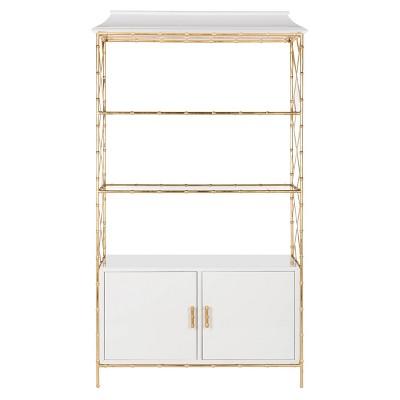 Adelia Lacquer Bookshelf White Lacquer   Safavieh by Safavieh