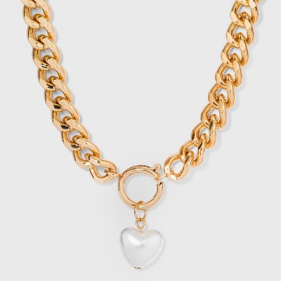 Simulated Pearl Heart Charm Chunky Chain Pendant Necklace - Wild Fable™ Gold