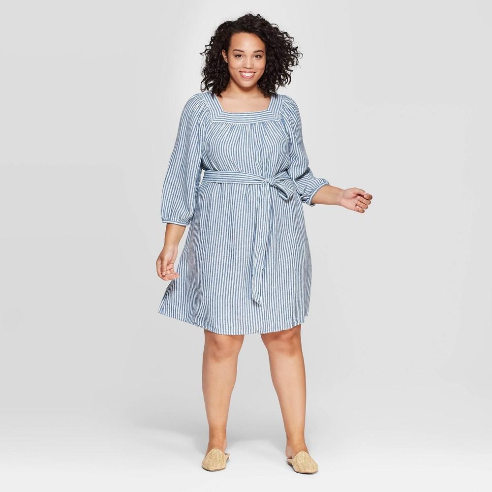 Women's Plus Size Striped Long Sleeve Square Neck Dress - Universal Thread Blue 4X