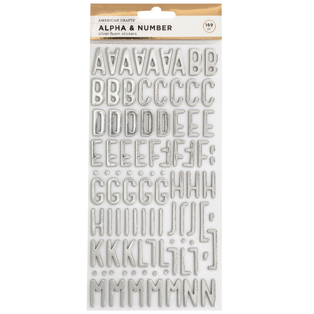 Image of 169pc Foam Stickers Alpha & Number Silver - American Crafts