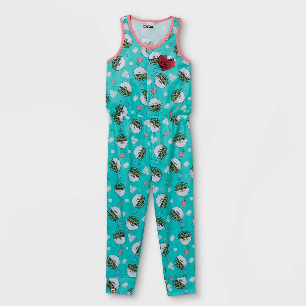 Girls 39 Lego Star Wars Baby Yoda Pajama Jumpsuit Blue L