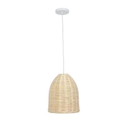 Elongated Coastal Dome Rattan Downlight Pendant Natural - Elegant Designs