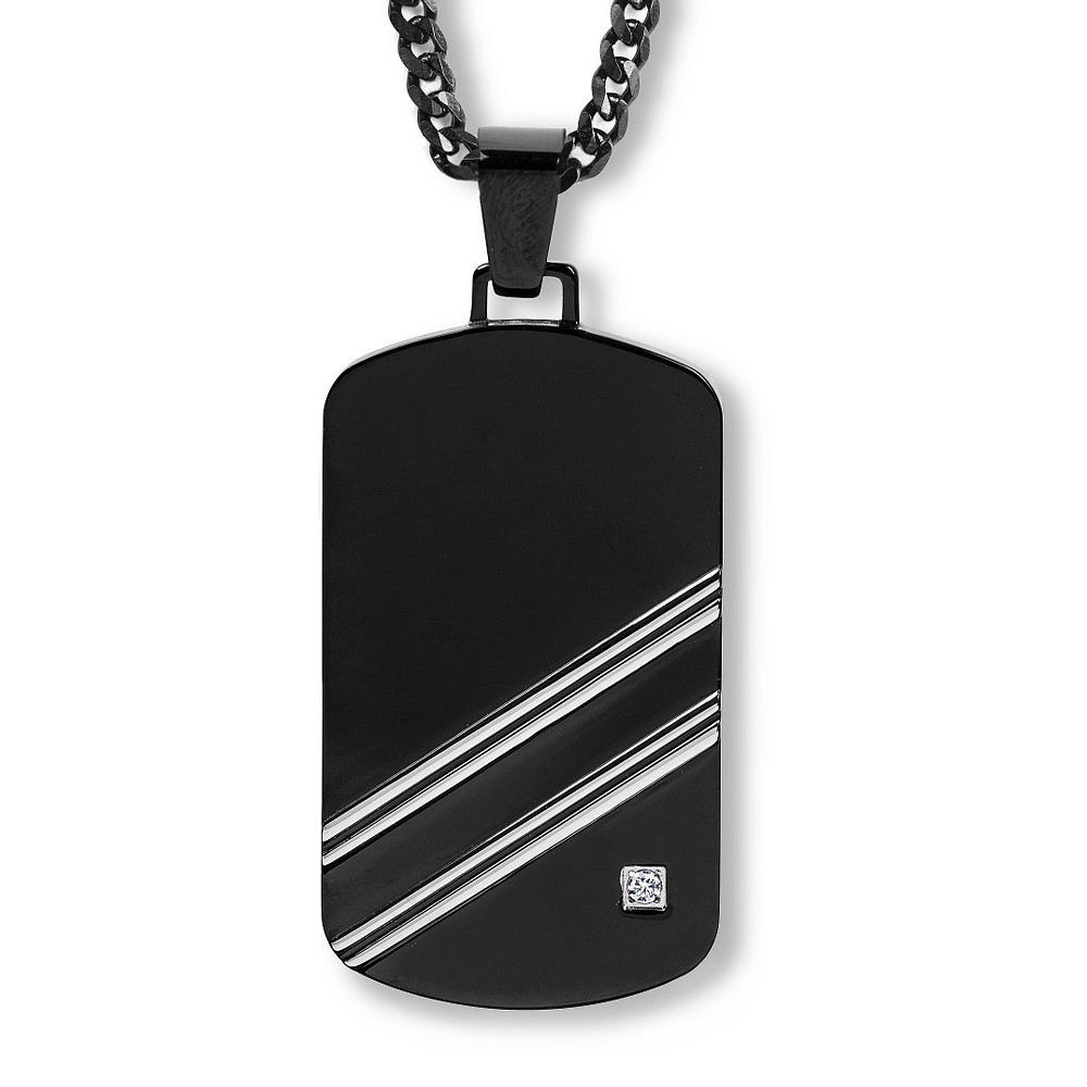 Men's Crucible Blackplated Stainless Steel Polished Cubic Zirconia Dog Tag Pendant, Black