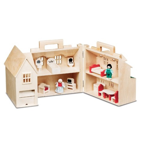 Melissa Doug Fold Go Wooden Dollhouse With 2 Play Figures And 11pc Of Furniture