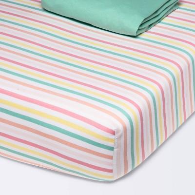 Fitted Crib Jersey Sheet Stripe - Cloud Island™ - Green - 2pk