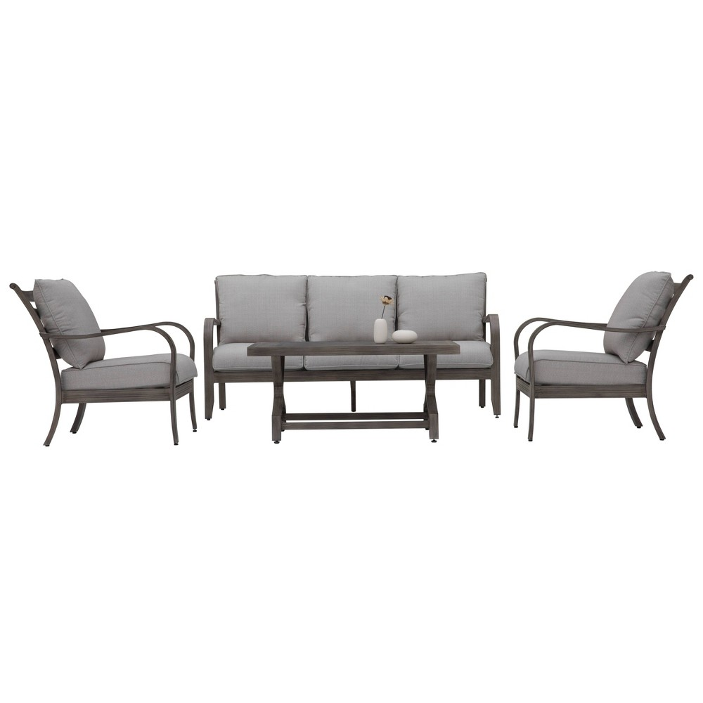 Image of 4pc Aluminum Patio Seating Set With Cushions Beige - Nuu Garden