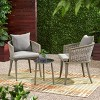 Pebble 3pc Wicker Boho Chat Set - Gray - Christopher Knight Home - image 2 of 4