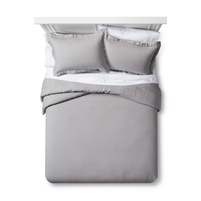 Cashmere Gray Lightweight Linen Comforter Set (Full/Queen)- Fieldcrest®