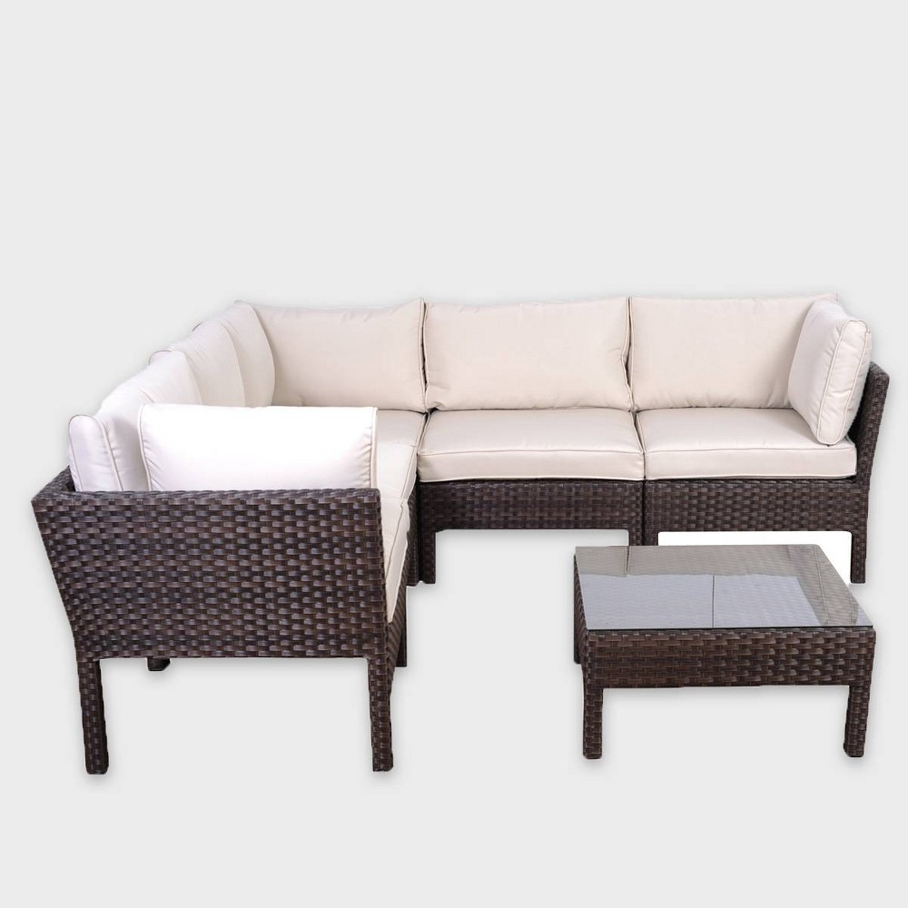 South Beach 6-Piece Wicker Patio Sectional Seating Furniture Set, Brown