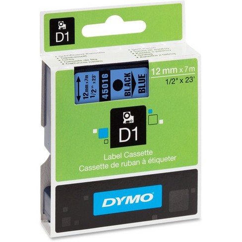 """Dymo D1 Electronic Tape Cartridge - 1/2"""" Width x 22 63/64 ft Length - Thermal Transfer - Black, Blue - Polyester - 1 Each - image 1 of 1"""