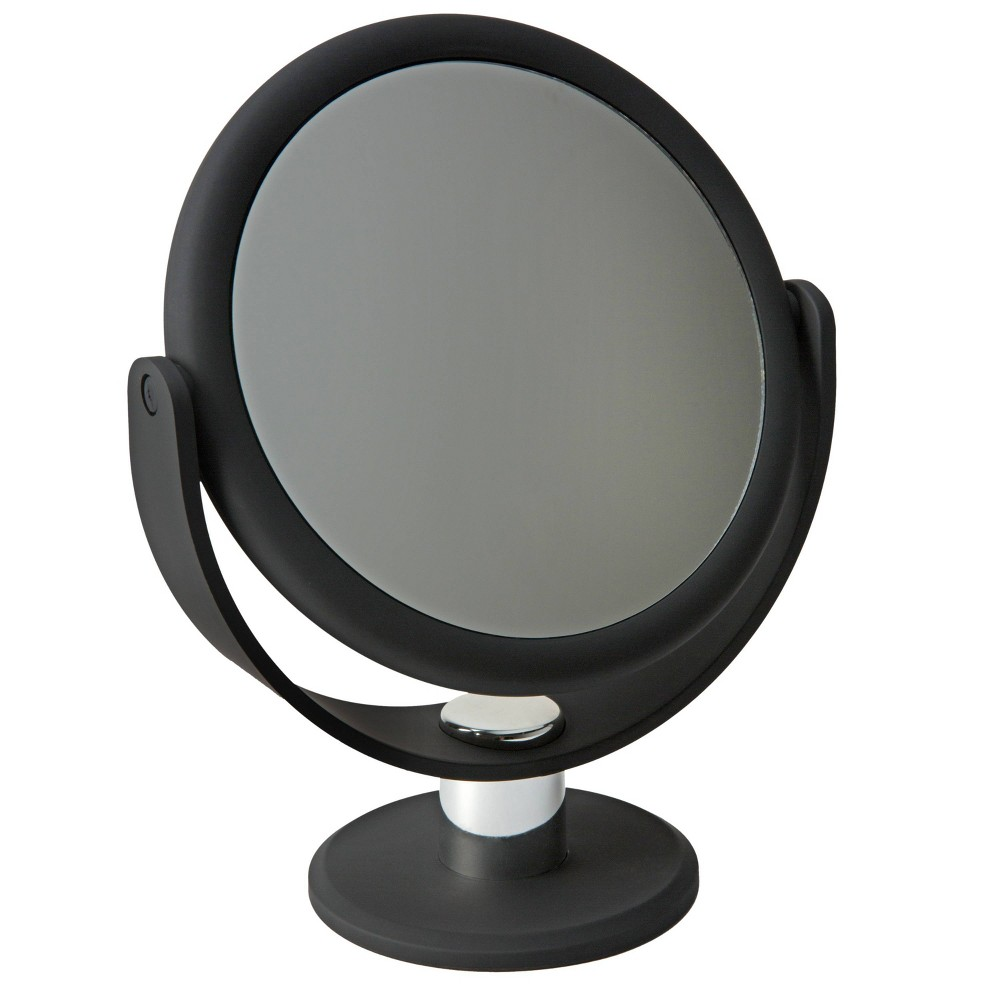 "Image of ""7"""" Vanity Rubberized Mirror 1X-10X Magnification Black - Home Details"""