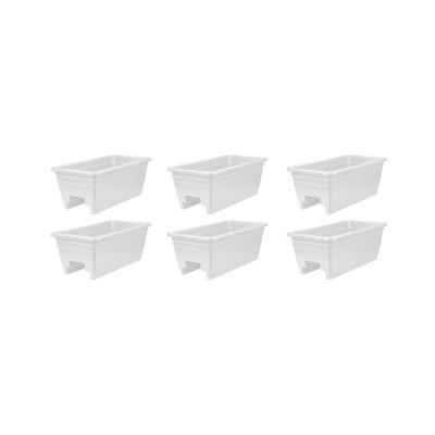 HC Companies SPX24DBOA10 Heavy Duty 24-Inch Width Akro Deck Rail Box Planter, White w/ plugs (6 Pack)